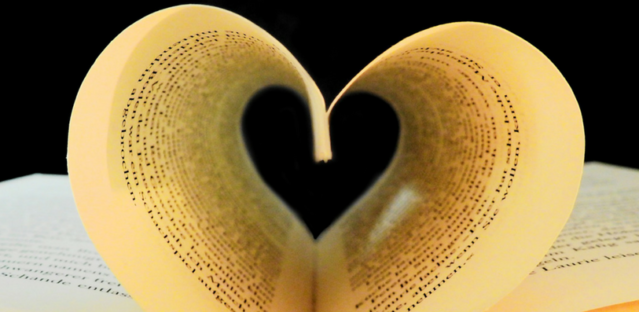 Book pages making a heart